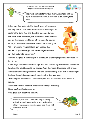 picture relating to The Lion and the Mouse Story Printable called The lion and the mouse
