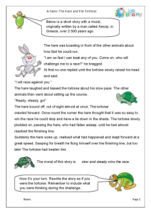Preview of worksheet The hare and the tortoise