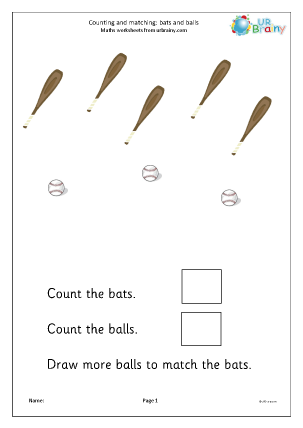 Preview of worksheet Count and draw more to match: bats and balls (2)