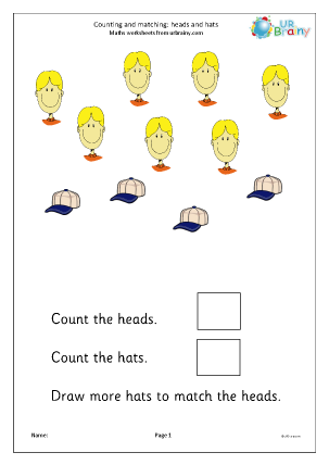 Preview of worksheet Count and draw more to match hats and heads