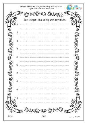 Preview of worksheet 10 things I like doing with my mum