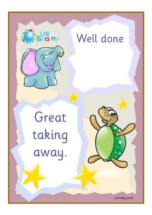 Preview of worksheet Well Done Great Taking Away - Certificate