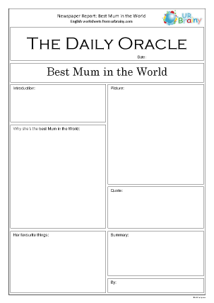 Preview of worksheet Newspaper report: Mother's Day