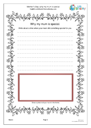 Preview of worksheet Why my mum is special