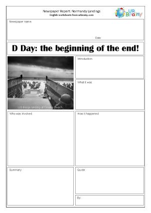 Preview of worksheet Newspaper report: WW2 Normandy Landings