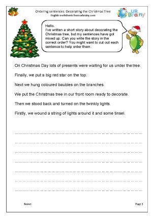 Preview of worksheet Christmas: ordering sentences