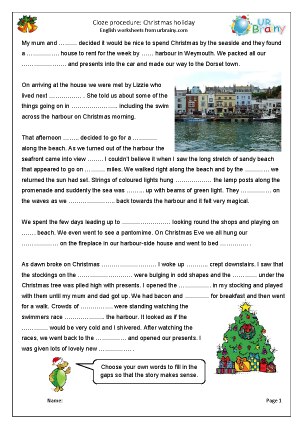 Preview of worksheet Cloze: Christmas holiday