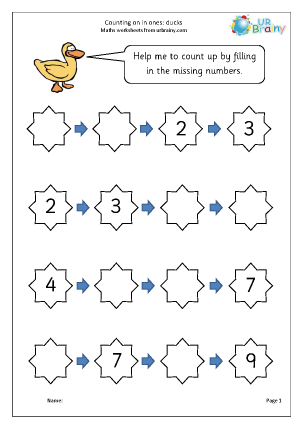 Preview of worksheet Counting on in ones (ducks)
