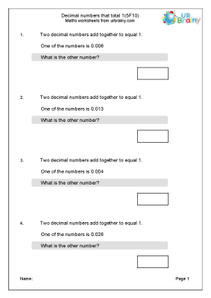 Preview of worksheet Decimals that total 1 (5F10)