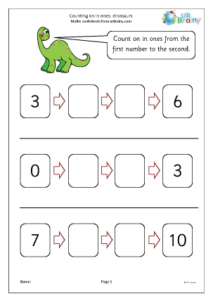 Preview of worksheet Count on in ones - dinosaurs