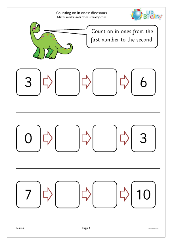 Preview of 'Count on in ones - dinosaurs'