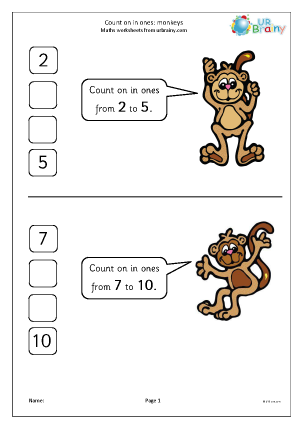 Preview of worksheet Count on in ones - monkeys