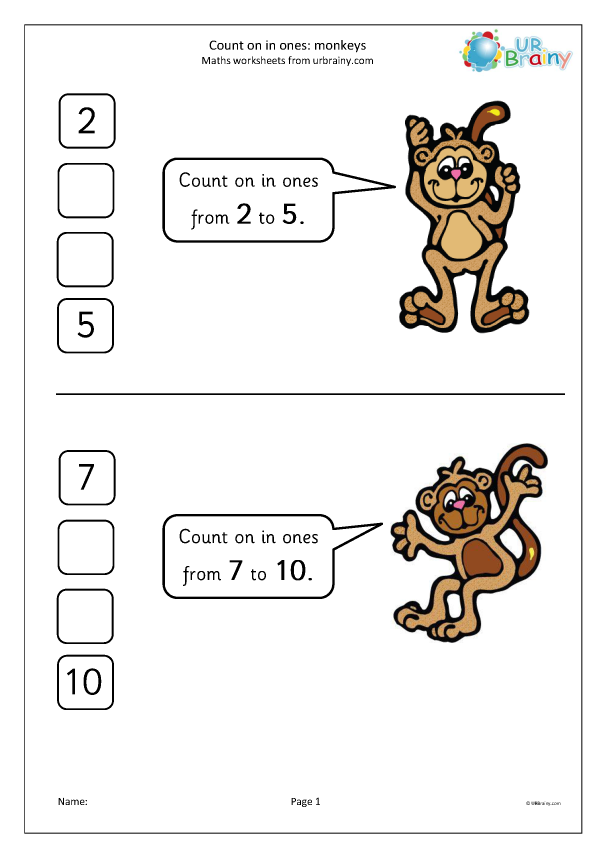 Preview of 'Count on in ones - monkeys'