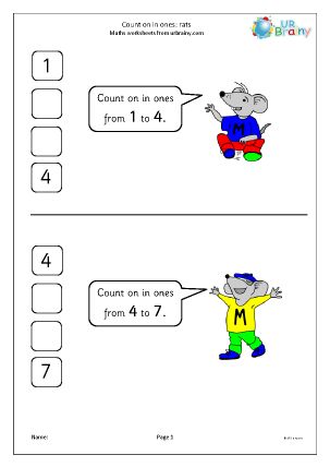 Preview of worksheet Count on in ones - rats