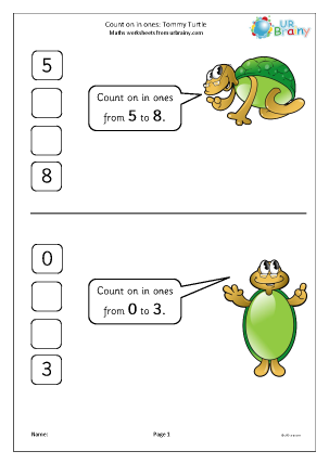 Preview of worksheet Count on in ones - Tommy Turtle
