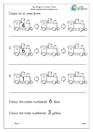 Preview of worksheet Count on in ones - trains