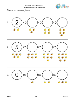 Preview of worksheet Counting on in ones - bees