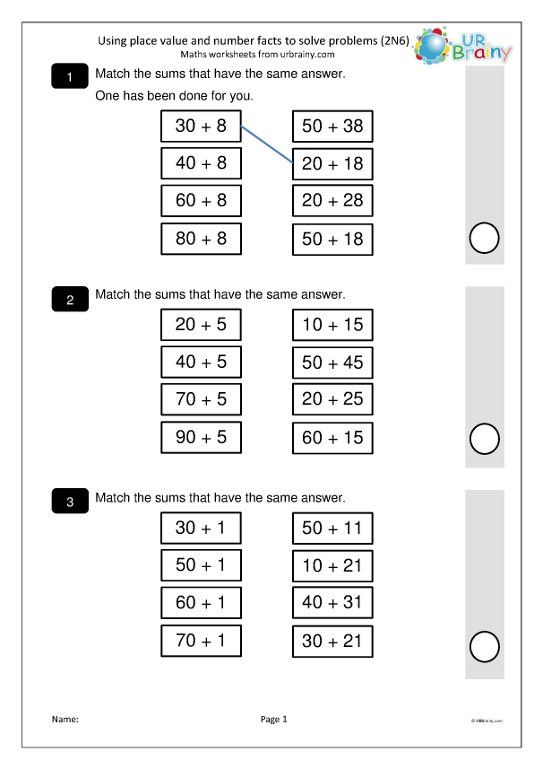 Preview of 'Solve problems using place value and number facts (2N6)'