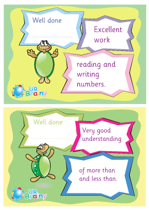 Preview of worksheet Reading Writing And More Than Less Than Certificates