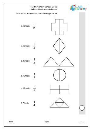 Preview of worksheet Find fractions of a shape (2F1a)
