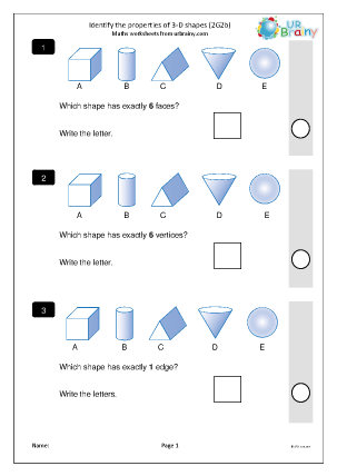 Preview of worksheet Identify the properties of 3D shapes (2G2b)