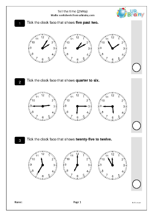 Preview of worksheet Tell the time (2M4a)