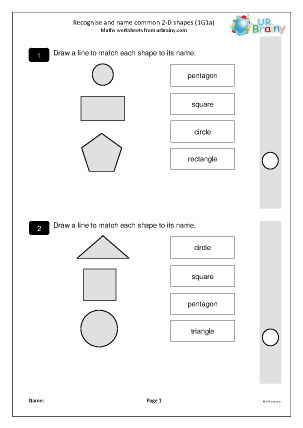 Preview of worksheet Recognise and name common 2D shapes (1G1a)