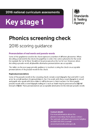 2016 Phonics screening check scoring guidance