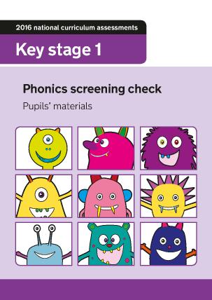 Preview of worksheet 2016 Phonics screening check children's materials