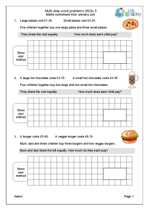 Preview of worksheet Multi step word problems (6C8) 3