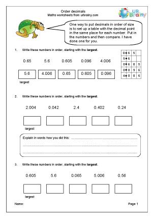 Preview of worksheet Order decimals