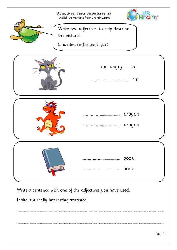 Preview of 'Writing adjectives to describe pictures 2 (KS1)'