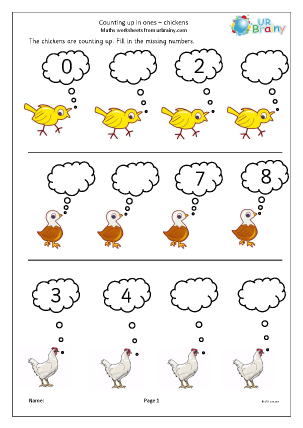 Preview of worksheet Completing a number line - chickens