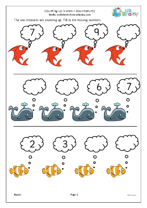 Preview of worksheet Completing a number line - sea creatures
