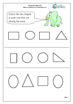 Geometry (Shape) Maths Worksheets for Year 1 (age 5-6)