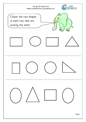 Using 2D shape 5 Geometry (Shape) Maths Worksheets For Year 1 (age 5-6 ...