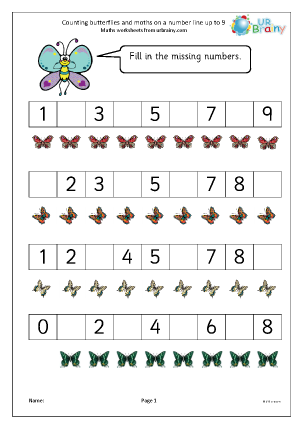 Preview of worksheet Counting butterflies and moths on a number line up to 9