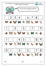 Counting different butterflies and moths on a number line up to 9