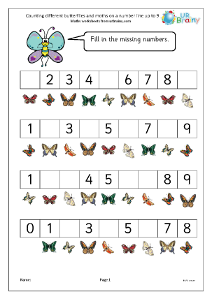 Preview of worksheet Counting different butterflies and moths on a number line up to 9