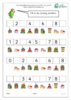 Preview of worksheet Counting different houses on a number line up to 9