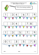 Counting bunting on a number line up to 9