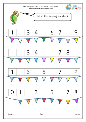 Preview of worksheet Counting bunting on a number line up to 9