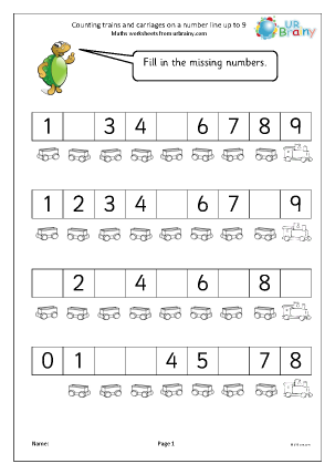 Preview of worksheet Counting trains and carriages on a number line up to 9