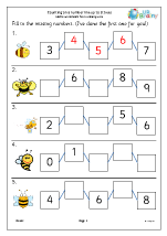 Counting on a number line up to 9 (bees)