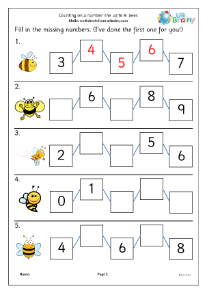 Preview of worksheet Counting on a number line up to 9 (bees)
