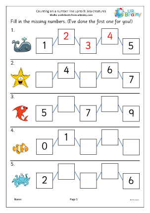 Preview of worksheet Counting on a number line up to 9 (sea creatures)