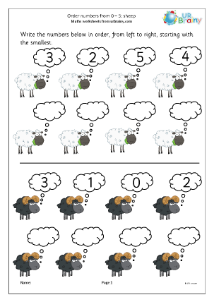 Preview of worksheet Order four numbers: sheep