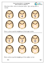 Order numbers from 0 to 9: hedgehogs