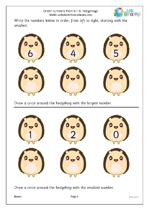 Preview of worksheet Order numbers from 0 to 9: hedgehogs