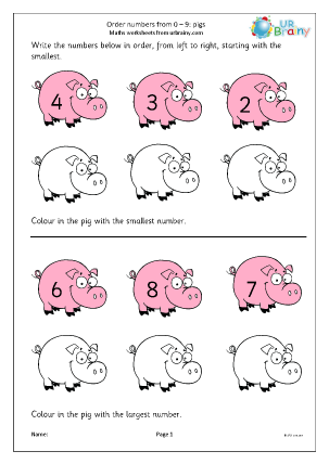 Preview of worksheet Order numbers from 0 to 9: pigs